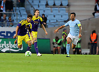 Thursday 08 August 2013<br /> Pictured L-R: ALejandro Pozuelo of Swansea chased by Jiloan Ahmad of Malmo <br /> Re: Malmo FF v Swansea City FC, UEFA Europa League 3rd Qualifying Round, Second Leg, at the Swedbank Stadium, Malmo, Sweden.