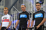 Sky Procycling team riders Norwegan National Champion Edvald Boasson Hagen (NOR), Christopher Froome (GBR) and Bernhard Eisel (AUT) on stage at the Team Presentation Ceremony before the 2012 Tour de France in front of The Palais Provincial, Place Saint-Lambert, Liege, Belgium. 28th June 2012.<br /> (Photo by Eoin Clarke/NEWSFILE)