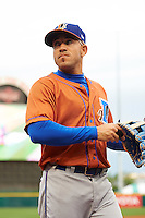Durham Bulls left fielder Dayron Varona (3) during a game against the Buffalo Bisons on June 13, 2016 at Coca-Cola Field in Buffalo, New York.  Durham defeated Buffalo 5-0.  (Mike Janes/Four Seam Images)
