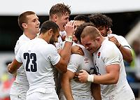 10th July 2021; Twickenham, London, England; International Rugby Union England versus Canada; Team celebration for Adam Radwan of England's try
