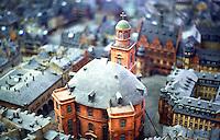 Frankfurt: Old Frankfurt Model--Paulskirche from above, Romer behind, left.