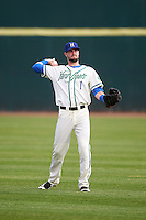 Hartford Yard Goats right fielder David Dahl (1) during warmups before the first game of a doubleheader against the Trenton Thunder on June 1, 2016 at Sen. Thomas J. Dodd Memorial Stadium in Norwich, Connecticut.  Trenton defeated Hartford 4-2.  (Mike Janes/Four Seam Images)