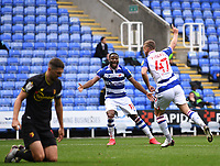 3rd October 2020; Madejski Stadium, Reading, Berkshire, England; English Football League Championship Football, Reading versus Watford; George Puscas celebrates scoring with Yakou Meite of Reading in 41st minute 1-0