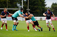 Dan Barnes of London Scottish is tackled during the Championship Cup match between London Scottish Football Club and Nottingham Rugby at Richmond Athletic Ground, Richmond, United Kingdom on 28 September 2019. Photo by Carlton Myrie / PRiME Media Images