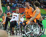 Liam Hickey, Rio 2016 - Wheelchair Basketball // Basketball en fauteuil roulant.<br /> Canadian men's wheelchair basketball team competes in the preliminaries against Netherlands // L'équipe canadienne masculine de basketball en fauteuil roulant participe à la ronde préliminaire contre les Pays-Bas. 09/09/2016.