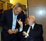 ENRICO MENTANA CON FRANCESCO COSSIGA<br /> APERTURA STORE FAY A FONTANELLA BORGHESE ROMA 10/2008