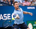 September 3,2019:   Stanislas Wawrinka (SUI) loses to Daniil Medvedev (RUS) 7-6, 6-3, 3-6, 6-1, at the US Open being played at Billie Jean King National Tennis Center in Flushing, Queens, NY.  ©Jo Becktold/CSM