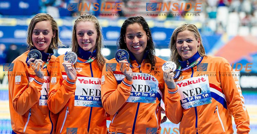 Team Netherlands NED<br /> (L to R) HEEMSKERK Femke, STEENBERGEN Marrit, KROMOWIDJOJO Ranomi, VAN DER MEER Maud<br /> 4X100 Freestyle Women Final Silver Medal<br /> Swimming Kazan Arena<br /> Day10 02/08/2015<br /> XVI FINA World Championships Aquatics Swimming<br /> Kazan Tatarstan RUS July 24 - Aug. 9 2015 <br /> Photo A.Masini/Deepbluemedia/Insidefoto