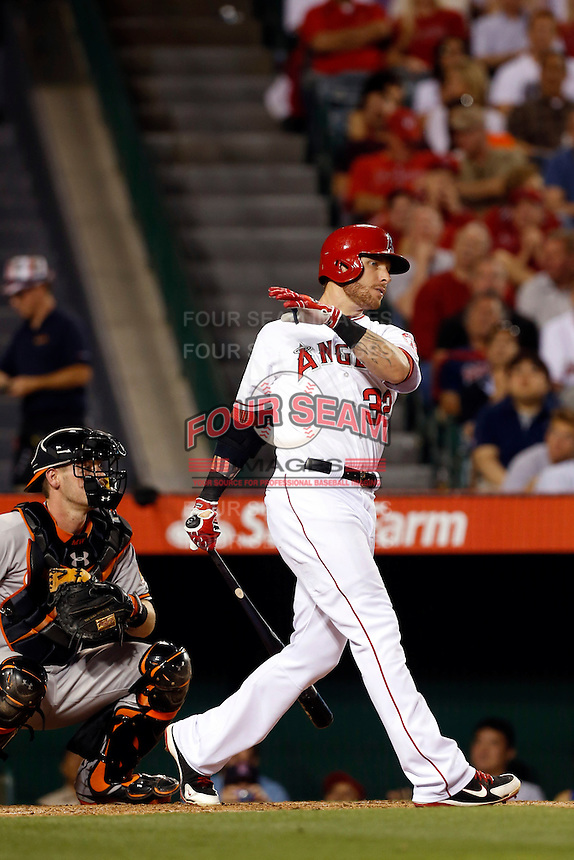 Josh Hamilton #32 of the Los Angeles Angels bats against the Baltimore Orioles at Angel Stadium on May 2, 2013 in Anaheim, California. Baltimore defeated Los Angeles 5-1. (Larry Goren/Four Seam Images)