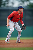 Williamsport Crosscutters third baseman Cole Stobbe (7) during a game against the Batavia Muckdogs on August 3, 2017 at Dwyer Stadium in Batavia, New York.  Williamsport defeated Batavia 2-1.  (Mike Janes/Four Seam Images)