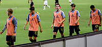 CARSON, CA - SEPTEMBER 06: Danny Musovski #16 of LAFC warms up on the sideline during a game between Los Angeles FC and Los Angeles Galaxy at Dignity Health Sports Park on September 06, 2020 in Carson, California.