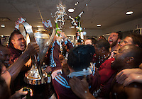 21 November 2010: The Colorado Rapids players  celebrate in the locker room after winning the 2010 MLS CUP between the Colorado Rapids and FC Dallas at BMO Field in Toronto, Ontario Canada..The Colorado Rapids won 2-1 in extra time....