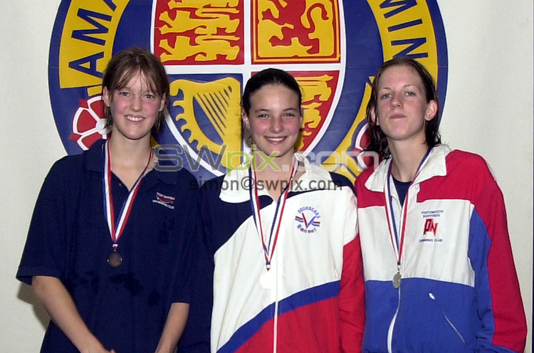 Pix: Matthew Lewis/SWpix.com. National Age Group Championships, Ponds Forge International Sports Centre, Sheffield. 1/08/2001..COPYWRIGHT PICTURE>>SIMON WILKINSON>>01943 436649>>..Girls 14yrs 400m Freestyle Final medal presentation. (From L to R). Dawn Jason, West suffolk (Bronze), Kerianne Payne, Aquabears (Gold), Laura Chase, Portsmouth N (Silver).