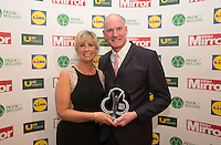 19/05/2015 <br /> (L to R),Anne Maire Norman & husband   Jimmy Norman with his award<br /> during the Irish mirror pride of Ireland awards at the mansion house, Dublin.<br /> Photo: gareth chaney Collins
