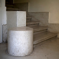A concrete staircase in the lobby of a Bauhaus style building at 120 Ahad Haam Street. Tel Aviv is known as the White City in reference to its collection of 4,000 Bauhaus style buildings, the largest number in any city in the world. In 2003 the Bauhaus neighbourhoods of Tel Aviv were placed on the UNESCO World Heritage List. .