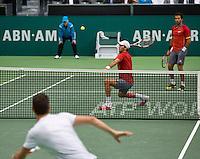 Rotterdam, The Netherlands. 16.02.2014. Michael Llodra(FRA) and Jean-Julien Rojer(NED)/Horia Tecau(ROE)  ABN AMRO World tennis Tournament<br /> Photo:Tennisimages/Henk Koster
