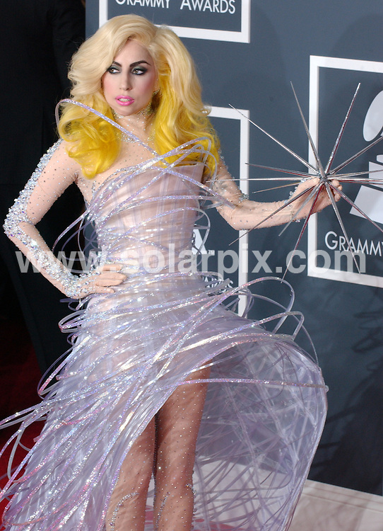 **ALL ROUND PICTURES FROM SOLARPIX.COM**.**SYNDICATION RIGHTS FOR UK, AUSTRALIA, DENMARK, PORTUGAL, S. AFRICA, SPAIN & DUBAI (U.A.E) ONLY**.arrivals for the 52nd Annual GRAMMY Awards at the Staples Center at the Los Angeles, CA, USA. 31 January 2010..This pic: Lady Gaga..JOB REF: 10591 PHZ Ortega   DATE: 31_01_2010.**MUST CREDIT SOLARPIX.COM OR DOUBLE FEE WILL BE CHARGED**.**MUST NOTIFY SOLARPIX OF ONLINE USAGE**.**CALL US ON: +34 952 811 768 or LOW RATE FROM UK 0844 617 7637**