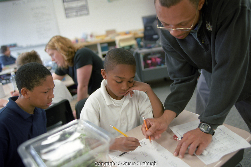 Elementary school tutors from the University of Washington College of Education help students in math class.