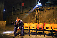 "Pictured: Actor Simon Nehan <br /> Re: Press rehearsal of ""We'Re Still Here"", a play created by Rachel Trezise, Common Wealth and the National Theatre Wales about steelworkers, which will be performed in Byass Works, a disused industrial unit, in Port Talbot, south Wales, UK."