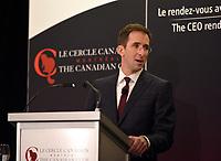 Allocution de Charles Brindamour, Chef de la direction d'Intact Corporation financière au Cercle canadien de Montréal,lundi 16 janvier 2017.<br /> <br /> PHOTO : Philippe Manh Nguyen - Agence Quebec Presse