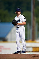Princeton Rays starting pitcher Shane Baz (11) gets ready to deliver a pitch during the first game of a doubleheader against the Johnson City Cardinals on August 17, 2018 at Hunnicutt Field in Princeton, West Virginia.  Johnson City defeated Princeton 6-4.  (Mike Janes/Four Seam Images)