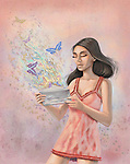 Woman with love letter with butterflies flying out from envelope over colored background