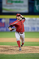 Altoona Curve relief pitcher Jared Lakind (30) delivers a pitch during a game against the Binghamton Rumble Ponies on May 17, 2017 at NYSEG Stadium in Binghamton, New York.  Altoona defeated Binghamton 8-6.  (Mike Janes/Four Seam Images)
