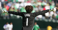 Guillermo Ochoa motions to players. Mexico defeated Nicaragua 2-0 during the First Round of the 2009 CONCACAF Gold Cup at the Oakland, Coliseum in Oakland, California on July 5, 2009.