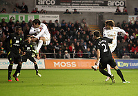 Barclays Premier League, Swansea City (White) V Norwich City (black) Liberty Stadium, Swansea, 08/12/12<br /> Pictured: Danny Graham has to jump out of the way of this shot by Michu of Swansea<br /> Picture by: Ben Wyeth / Athena <br /> Athena Picture Agency<br /> info@athena-pictures.com