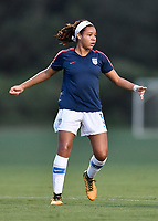 Lakewood Ranch, FL - Wednesday, October 10, 2018:   Mia Fishel warms up prior to a U-17 USWNT match against Colombia.  The U-17 USWNT defeated Colombia 4-1.