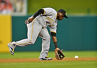 16 May 2012: Pittsburgh Pirates infielder Josh Harrison in action against the Washington Nationals at Nationals Park in Washington, DC. The Nationals defeated the Pirates 7-4 in the first game of their 2-game series. Mandatory Credit: Ed Wolfstein Photo