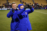 COLUMBUS, OH - NOVEMBER 07: Emily Sonnett #14 and Rose Lavelle #16 of the United States pose for pictures during a game between Sweden and USWNT at MAPFRE Stadium on November 07, 2019 in Columbus, Ohio.