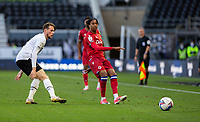 12th September 2020; Pride Park, Derby, East Midlands; English Championship Football, Derby County versus Reading; Michael Olise of Reading passing the ball forward away from Max Bird of Derby County