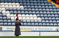 7th November 2020; Ewood Park, Blackburn, Lancashire, England; English Football League Championship Football, Blackburn Rovers versus Queens Park Rangers; a lone bugler plays the Last Post following the minute's silence as part of the Remembrance  Day commemorations
