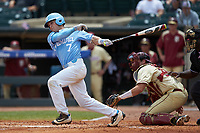 Logan Warmoth (7) of the North Carolina Tar Heels follows through on his swing against the Florida State Seminoles in the 2017 ACC Baseball Championship Game at Louisville Slugger Field on May 28, 2017 in Louisville, Kentucky. The Seminoles defeated the Tar Heels 7-3. (Brian Westerholt/Four Seam Images)