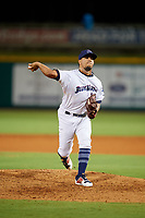 Pensacola Blue Wahoos Shrimp relief pitcher Alejandro Chacin (10) delivers a pitch during a game against the Jacksonville Jumbo on August 15, 2018 at Blue Wahoos Stadium in Pensacola, Florida.  Jacksonville defeated Pensacola 9-2.  (Mike Janes/Four Seam Images)