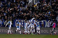Dimitrios Siovas (Leganes FC) celebrates his goal which made it (1,1) <br />   Copa del Rey match between Leganes FC vs Sevilla FC at the Municipal de Butarque stadium in Madrid, Spain, January 31, 2018. *** Local Caption *** © pixathlon<br /> Contact: +49-40-22 63 02 60 , info@pixathlon.de