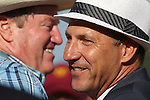July 11, 2015: Larry Jones (left), trainer of favorite Lovely Maria, congratulates Kelly Breen on Calamity Kate's win in the Delaware Oaks. Calamity Kate, Edgar Prado up, wins the Grade III Delaware Oaks, one and one sixteenth miles for 3 year old fillies at Delaware Park in Stanton DE. Trainer is Kelly Breen. Joan Fairman Kanes/ESW/CSM