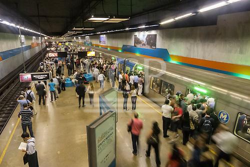 Rio de Janeiro, Brazil. Cinelandia Metro station. Busy underground railway platform.