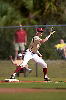 Boston College Eagles first baseman Mitch Bigras (28) during a game against the Central Michigan Chippewas on March 8, 2016 at North Charlotte Regional Park in Port Charlotte, Florida.  Boston College defeated Central Michigan 9-3.  (Mike Janes/Four Seam Images)