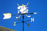 15th July 2021; Royal St Georges Golf Club, Sandwich, Kent, England; The Open Championship, PGA Tour, European Tour Golf, First Round ; a wind vane on the starter's hut near the first tee