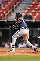 Gwinnett Braves catcher Christian Bethancourt (27) looks to lay down a bunt during a game against the Buffalo Bisons on May 13, 2014 at Coca-Cola Field in Buffalo, New  York.  Gwinnett defeated Buffalo 3-2.  (Mike Janes/Four Seam Images)