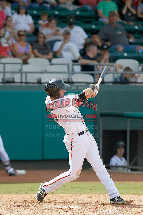 Down East Wood Ducks third baseman Josh Altmann (5) at bat during a game against the Salem Red Sox at Grainger Stadium on April 16, 2017 in Kinston, North Carolina. Salem defeated Down East 9-2. (Robert Gurganus/Four Seam Images)