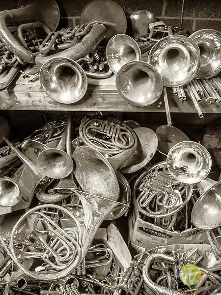 Bill Korzick workshop. Old brass instruments study.