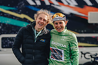 5th October 2021, AJ Bell  Womens  Cycling Tour, Stage 2,  Walsall to Walsall. Lizzie Banks with Elise Chabbey current QOM jersey holder.