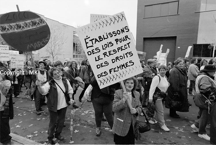manifestation pour les droits des femmes<br /> , date inconnue en 2000<br /> <br /> PHOTO : Agence Quebec Presse