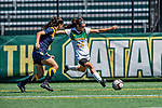 1 September 2019: University of Vermont Catamount Midfielder/Defender Karen Wallace, a Freshman from Tinton Falls, NJ, in action against the Merrimack College Warriors in Game 3 of the TD Bank Women's Soccer Classic at Virtue Field in Burlington, Vermont. The Lady Warriors rallied in the second half to defeat the Catamounts 2-1. Mandatory Credit: Ed Wolfstein Photo *** RAW (NEF) Image File Available ***
