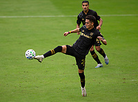 LOS ANGELES, CA - OCTOBER 25: Eduard Atuesta #20 of the LAFC traps a ball during a game between Los Angeles Galaxy and Los Angeles FC at Banc of California Stadium on October 25, 2020 in Los Angeles, California.