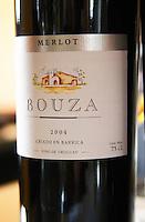 Bouza Merlot 2004 barrel aged. Bodega Bouza Winery, Canelones, Montevideo, Uruguay, South America