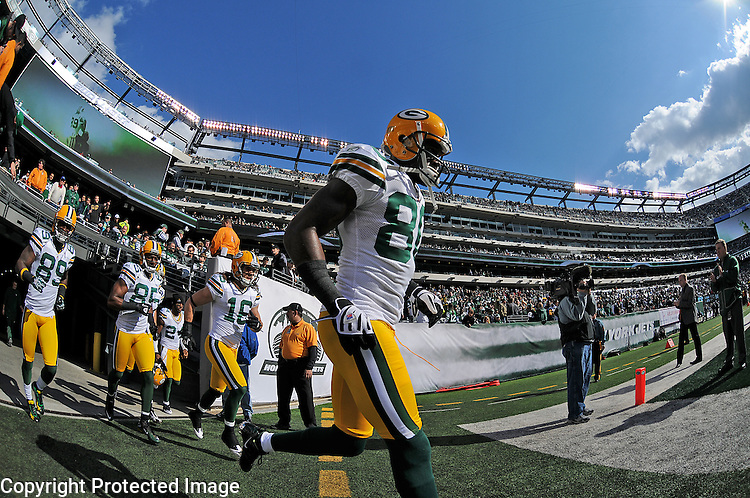 Green Bay Packers receiver Donald Driver runs onto the field before the game against the New York Jets at The New Meadowlands Stadium in East Rutherford, NJ on Oct. 31, 2010.